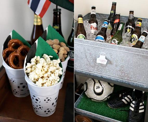 Ideen für partys zur Fußball em mit popkorn und bretzen in Fußballbechern und diy Bierkühler