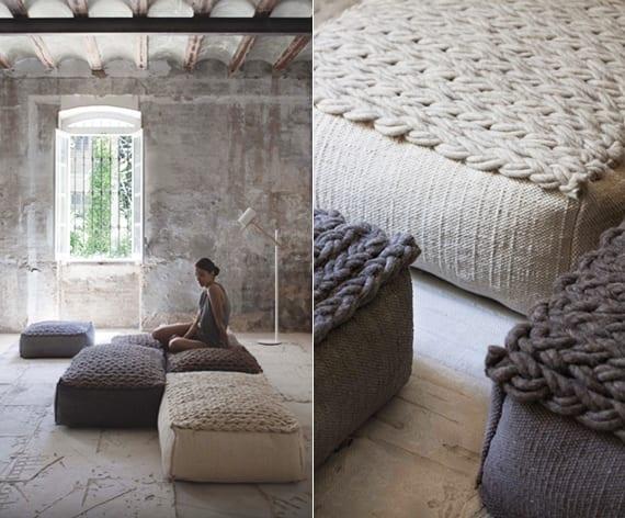moderne raumkonzepte mit Designer Sitzkissen aus Wolle in beige und grau für ein modernes und minimalistisches Interior