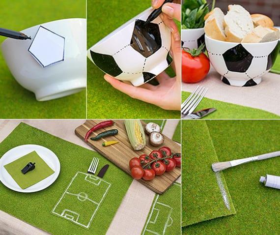 bastelideen für DIY Fußball-Tischdeko mit Fußball-Schüsseln und Untersetzer-Set