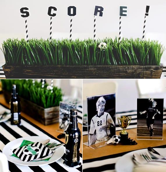 schwarzweiße Tischdekoration mit Fußball-Motiv