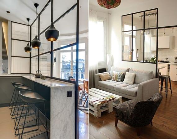 moderne verglasung mit schwarzen fensterrahmen als einrichtungsidee für kleine wohnzimmer mit küche im industrial style