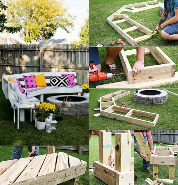 50 coole Garten Ideen für Gartenbank selber bauen - fresHouse