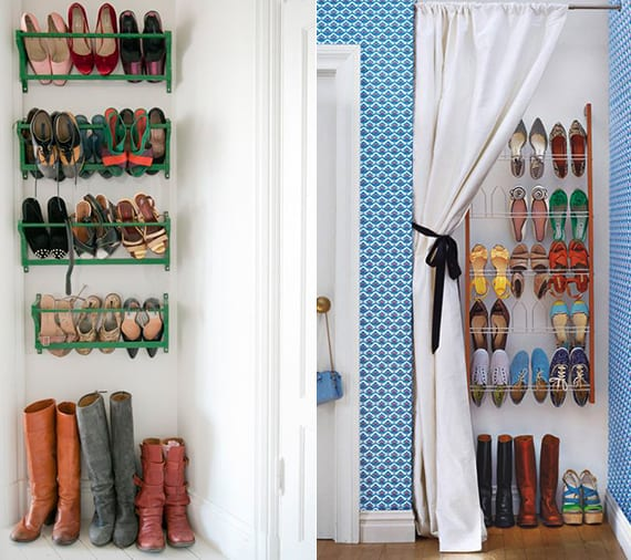 DIY Schuhregal für Wand als coole wohnideen für optimale schuhaufbewahrung in kleiner wohnung