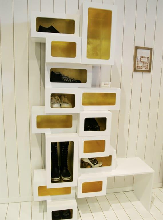 moderner schuhschrank selber bauen aus weiß gestrichenen schuhkartons