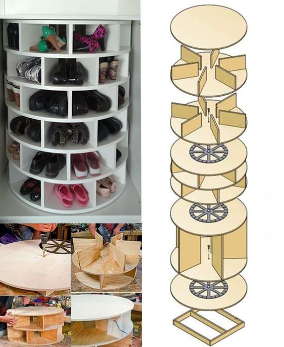 drehbares Schuhregal selber bauen aus holz