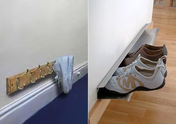 einfaches Schuhregal selber bauen aus Blech oder Wandhacken