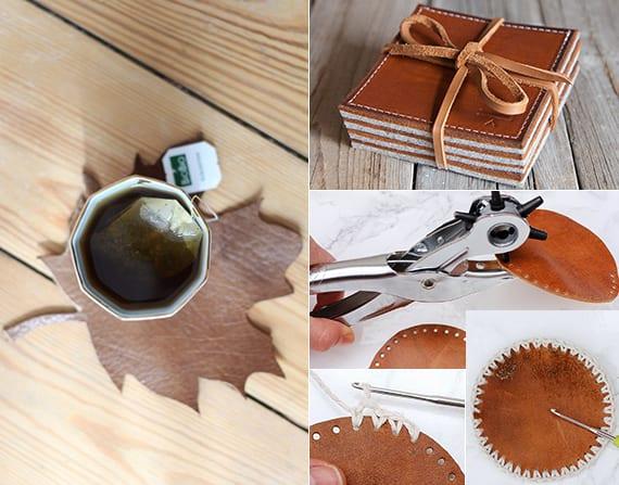 Untersetzer in Blätterform selber basteln aus Leder