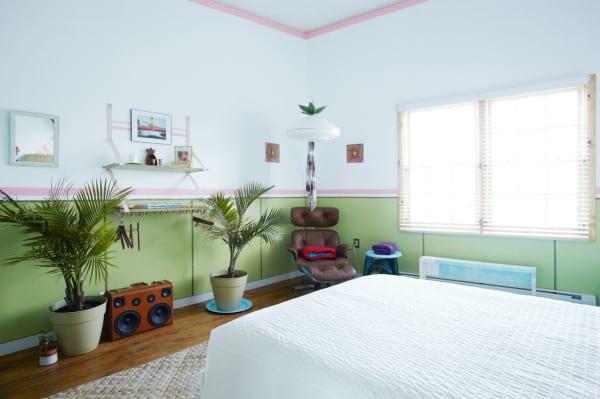 wand streichen ideen für schlafzimmer mit wandfarbe grün und hellrosa