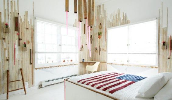 12 ideen f r schlafzimmer farben und originelles schlafzimmer design mit holzbrettern und. Black Bedroom Furniture Sets. Home Design Ideas