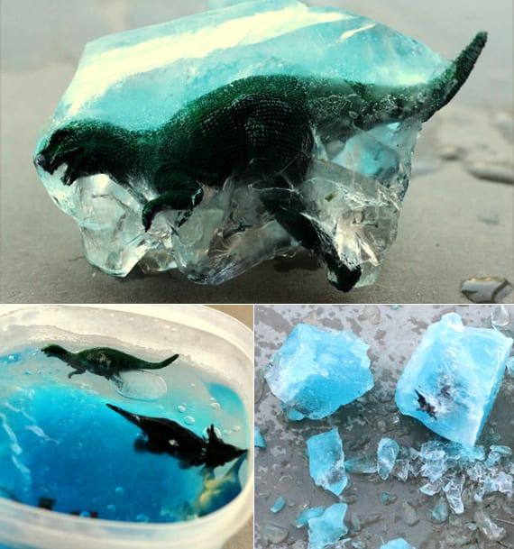 diy Dinosaurier fossille mit wasser und lebensmittelfarbe als coole bastelidee für kleinkinder