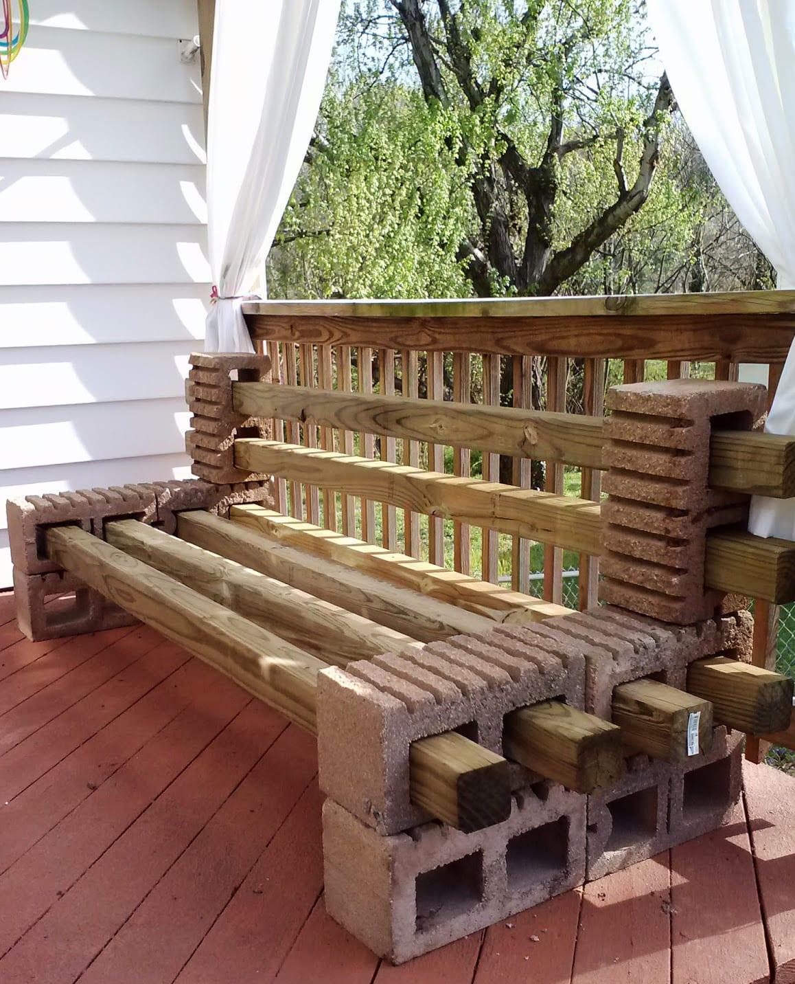 gartenbank selber bauen mit kantholz und betonblöcken