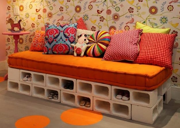kinderzimmer kreativ einrichten mit diy sitzbank mit schuhregal