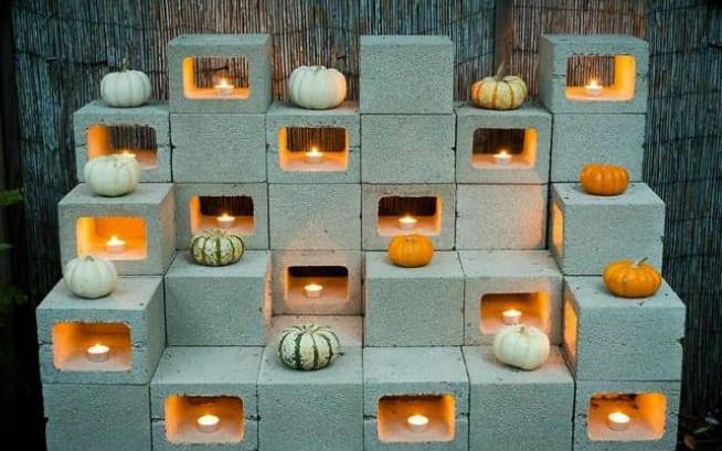coole diy ideen für Halloween Dekoration mit Kürbisse und teelichtern