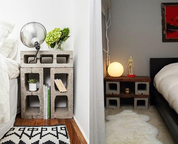originelle ideen für schlafzimmergestaltung mit selbstgebauten nachttischen aus betonblöcken