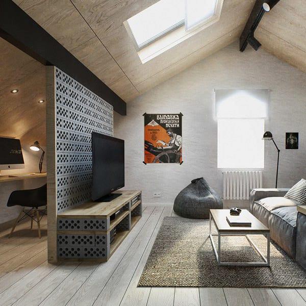 kreative raumtrennung einer Dachwohnung mit Trennwand und TV-Bank aus Holz und Ziegeln