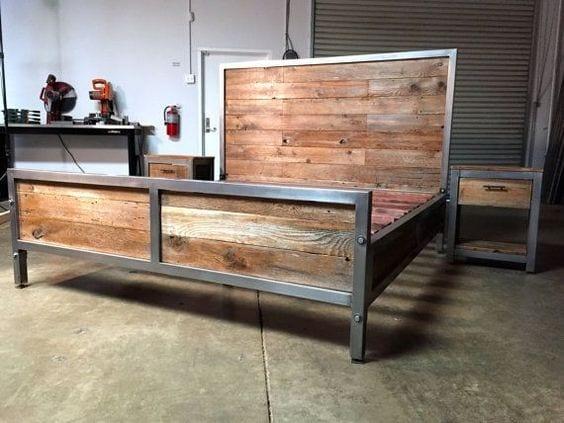 bet bauen mit holz nd metall als idee für DIY bett in industrialem stil