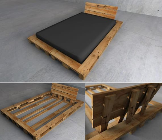 paletten bet mit kopfteil selber bauen als idee für moderne schlafzimmereinrichtung