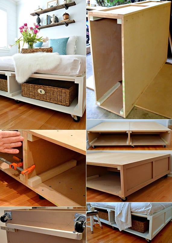 selbstgebautes bett mit stauraum auf rollen_rustikales schlafzimmer mit diy bett weiß und wandregalen