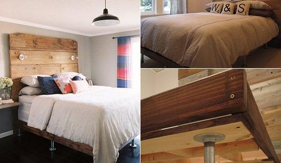 bett selber bauen f r ein individuelles schlafzimmer design diy bett aus holz mit bett kopfteil. Black Bedroom Furniture Sets. Home Design Ideas