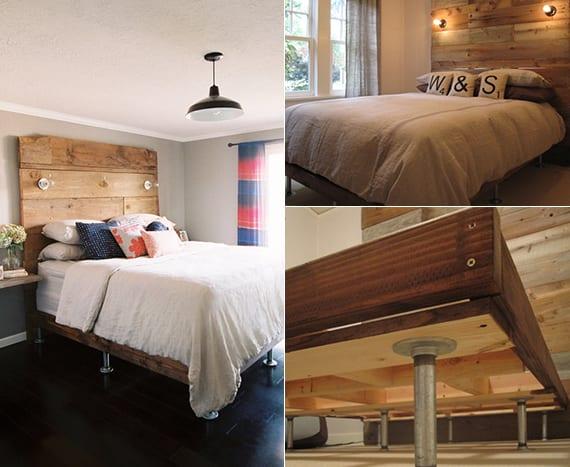 bett mit kopfteil einfach bauen_toole idee für selbstgebautes bett mit metallfüßen im schlafzimmer mit schwarzem holzfußboden