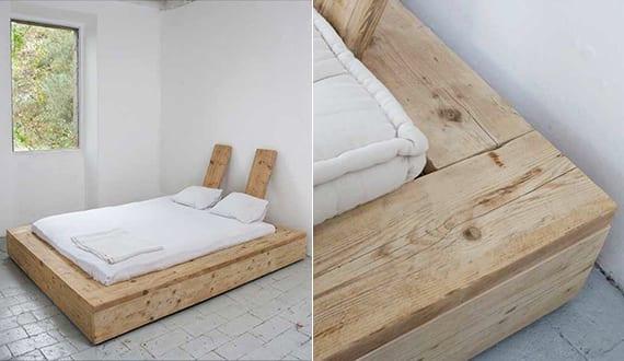 minimalischtisches schlafzimmer design mit bodenfliesen weiß und diy platformbett mit einfachem kopfteil aus holz