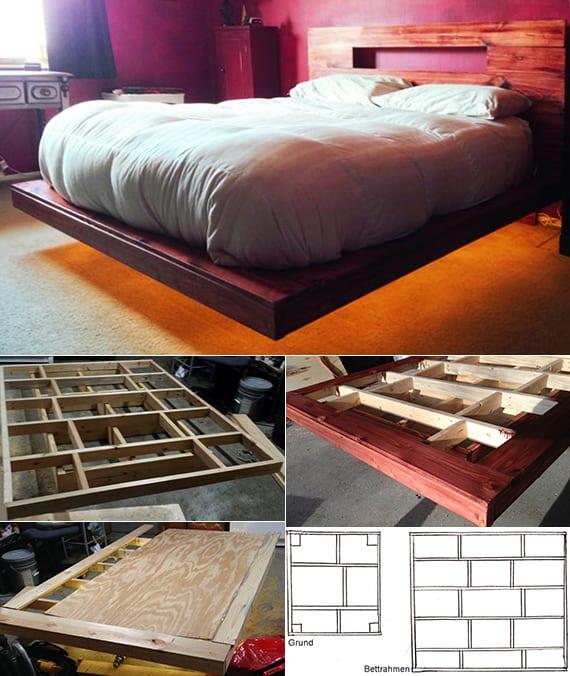 toole idee für schlafzimmer einrichtung mit diy bett und indireckter beleuchtung mit LED-Band