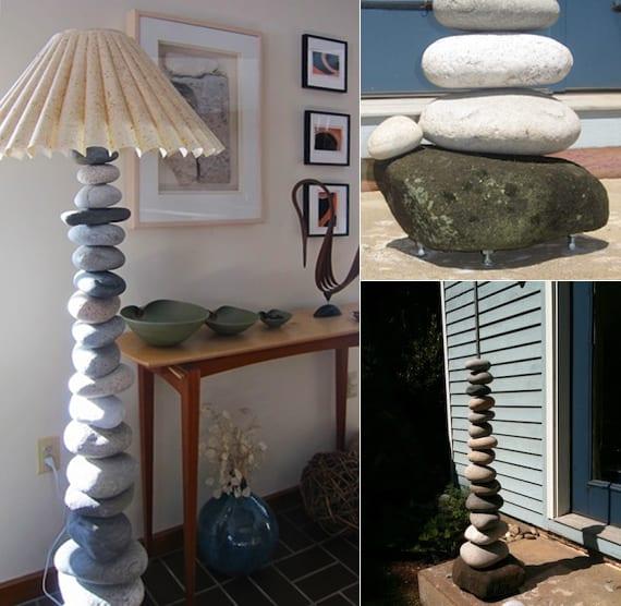 bastelidee für diy lampe mit steinen und lampenschirm aus reispapier
