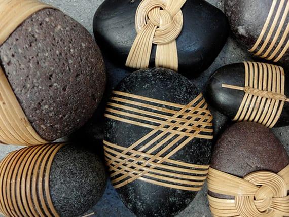 moderne diy deko mit gebundenen steinen