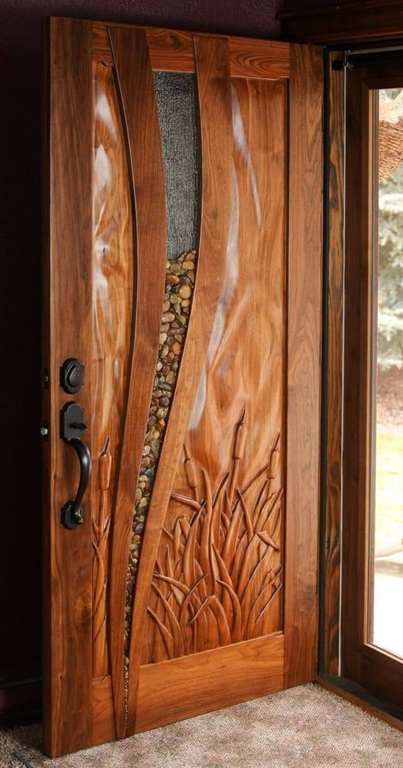 tolle dekoidee mit steinen für Holztür mit glas