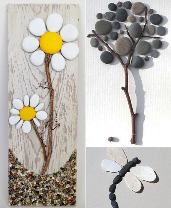 kreative wanddekoration selber machen mit steinen