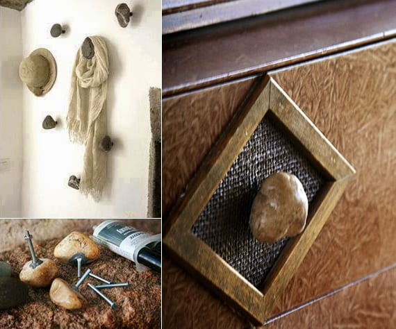 diy wandaufhänger und griffe aus steinen als originelle wohnidee