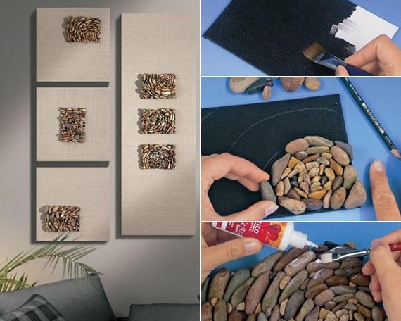 moderne wandgestaltung mit selbstgebastelten bilder von steinen