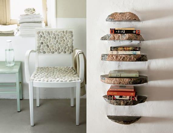 coole bastelideen für diy wandregal aus steinen und kreative idee für stuhldeko