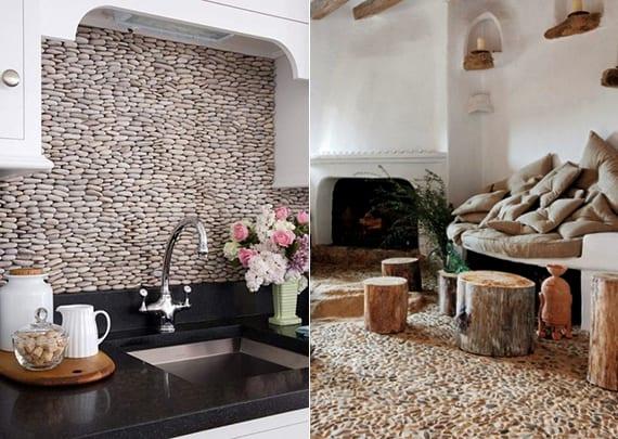 moderne küche weiß mit fliesenspiegel aus steinen und cooles interior design mit fußbodenbelag aus steinen