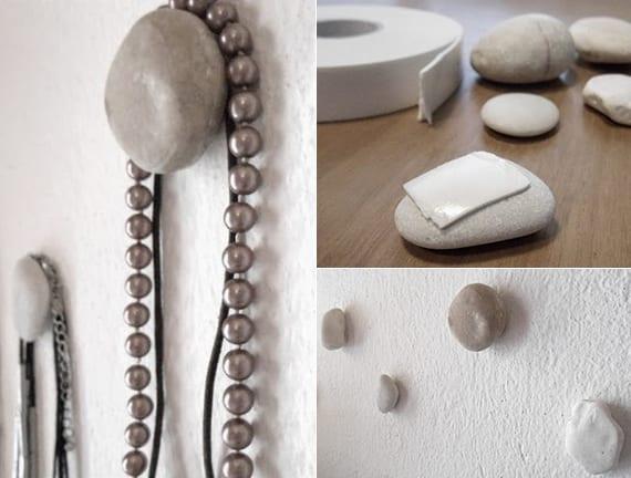 tolle wand deko ideen mit steinen als diy schmuck-aufhänger