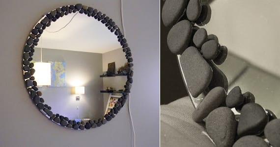 spiegelrahmen für wandspiegel rund selber basteln mit steinen
