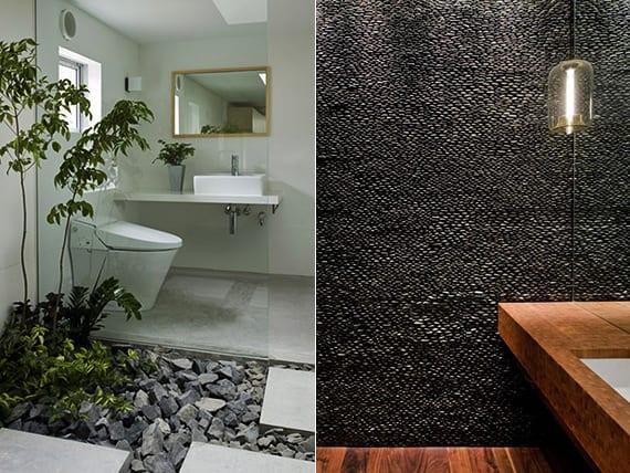coole deko ideen für modernes bad mit steinen, pflanzen und holz