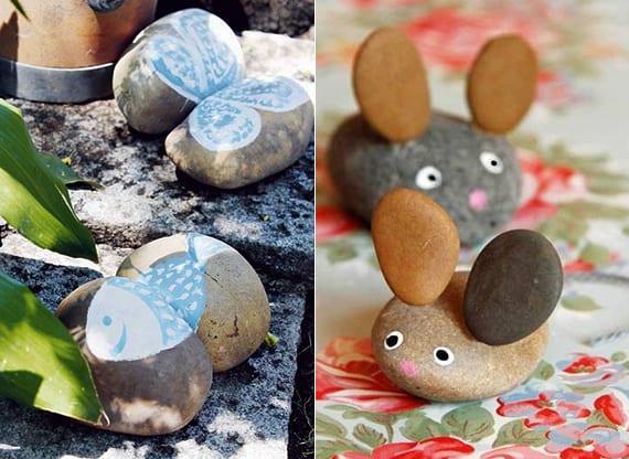 tiere basteln mit steinen oder tiere malen auf steine