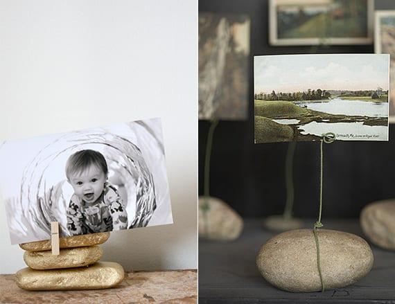 bastelidee für dekoration mit diy fotohalter aus steinen