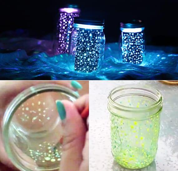 diy leuchtfarbe-Lichter mit Glasgefäß als coole Gartendeko und Bastelidee für große und kleine Kinder