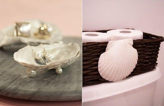 diy schmuckschale aus Muschelschale und Perlen