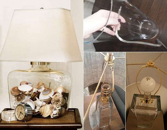 lampe selber bauen mit glasvase und muscheln als coole Idee für DIY Deko im Wohn- und Schlafzimmer