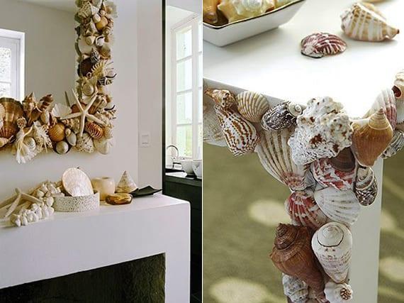 toole bastelideen mit muscheln für DIY Spiegelrahmen und Tischdeko