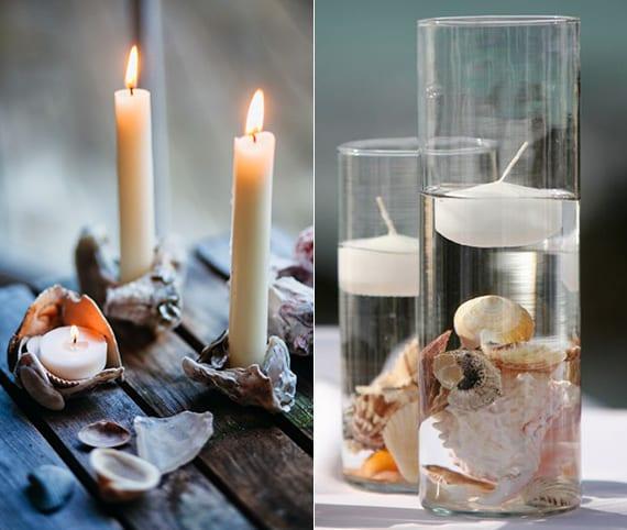 bastelidee für DIY kerzenhalter aus muscheln und coole Tischdeko mit Kerzen
