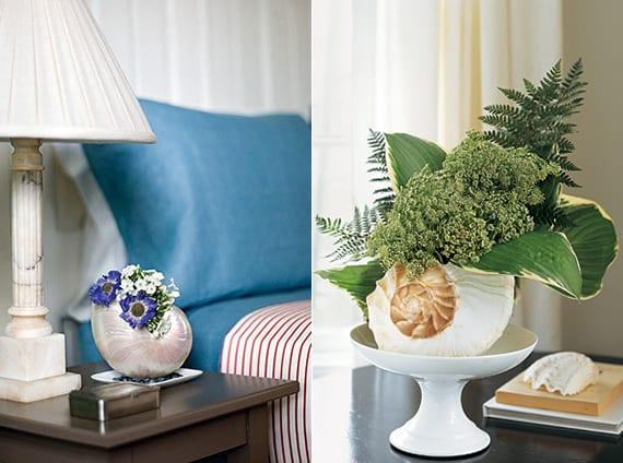 coole tischdeko mit meeresschnecken und blumen_diy vase aus meeresschnecken