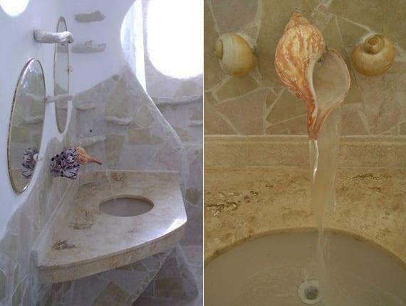 coole badezimmer idee für wassertisch aus naturstein mit wasserhahn aus Meeresschnecke