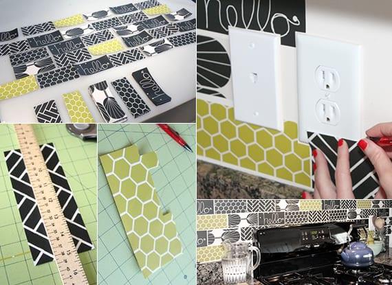 bastelidee für bunte Küchenrückwand mit DIY Fliesen aus Klebefolie