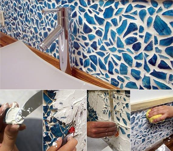 fliesenspigel küche aus mosaik in blau_verlegen sie selber mosaik aus gebrochenem glas