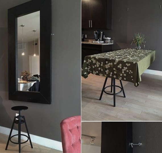 esstisch selber bauen mit wandspiegel und spiegelrahmen aus holz