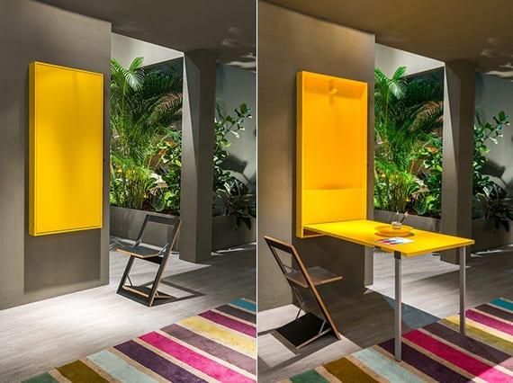 moderne küche einrichten mit klapptisch gelb_wandfarbe grau für die küche